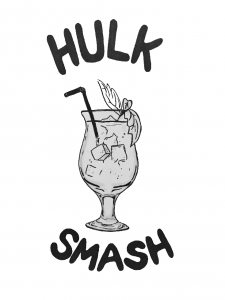 This is an illustration of the nin jiom alcoholic beverage named Hulk Smash.