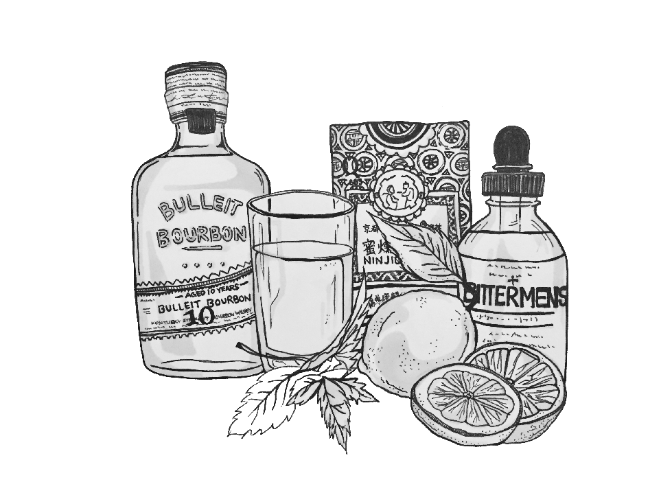 This is an illustration of the drink ingredients at the Keefer bar (involves nin jiom).