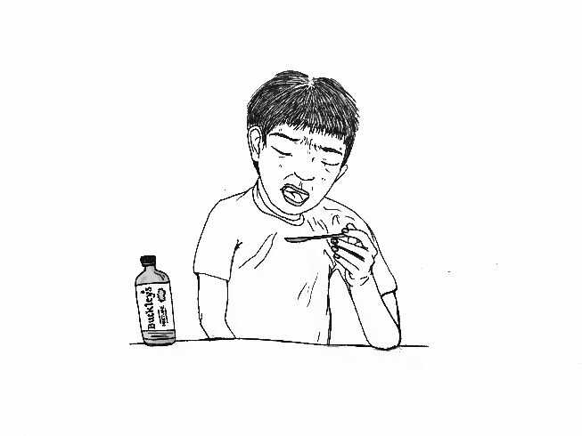 This is an illustration of someone taking cough syrup hesitantly.